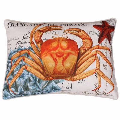 Thro by Marlo Lorenz French Coastal Crab Printed Throw Pillow