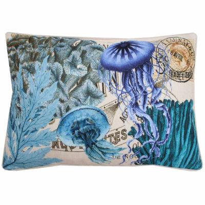 Thro by Marlo Lorenz French Coastal Jelly Fish Printed Throw Pillow