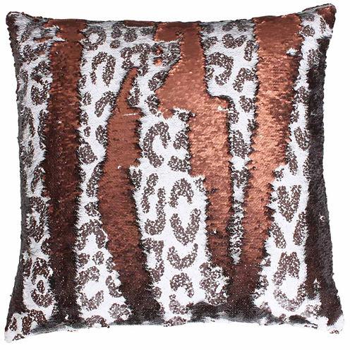 Thro by Marlo Lorenz Cenny Cheetah Reversible Sequin Throw Pillow