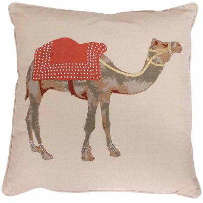 Thro by Marlo Lorenz Rust Czer Camel Printed WithDarcy Diamonds Pillow