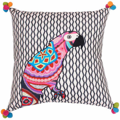 Thro by Marlo Lorenz Iago Parrot Embroidered Throw Pillow