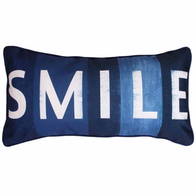 Thro by Marlo Lorenz Smile Printed Sign Faux Linen Throw Pillow