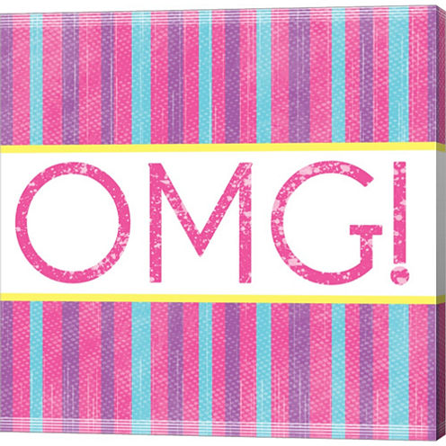 OMG Stripes Gallery Wrapped Canvas Wall Art On Deep Stretch Bars
