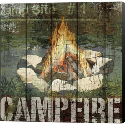 Open Season Campfire Gallery Wrapped Canvas Wall Art On Deep Stretch Bars