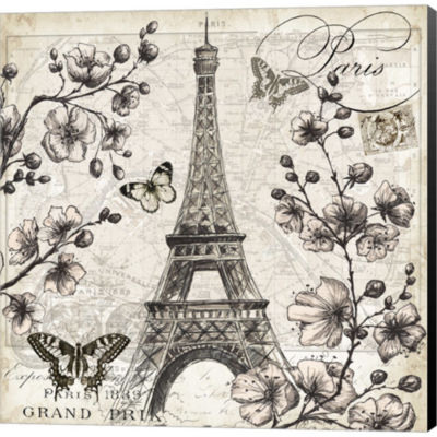 Paris In Bloom I Gallery Wrapped Canvas Wall Art On Deep Stretch Bars