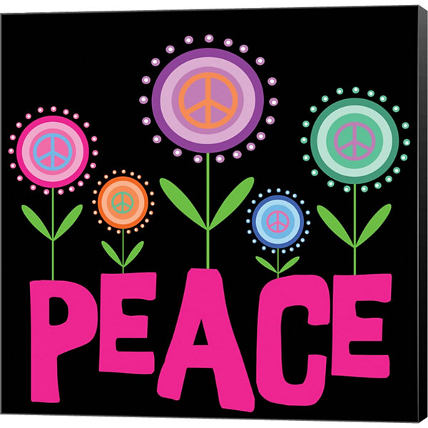Metaverse Art Peace Flowers Gallery Wrapped CanvasWall Art