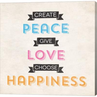 Metaverse Art Peace Love Happiness Gallery WrappedCanvas Wall Art