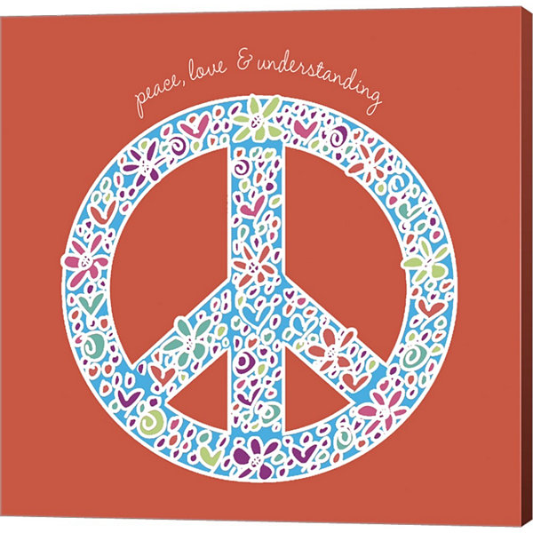 Peace  Love  And Understanding Gallery Wrapped Canvas Wall Art On Deep Stretch Bars