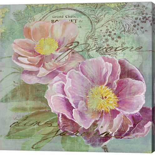 Peony Garden I Gallery Wrapped Canvas Wall Art OnDeep Stretch Bars