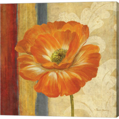 Metaverse Art Poppy Tapestry Stripes I Gallery Wrapped Canvas Wall Art