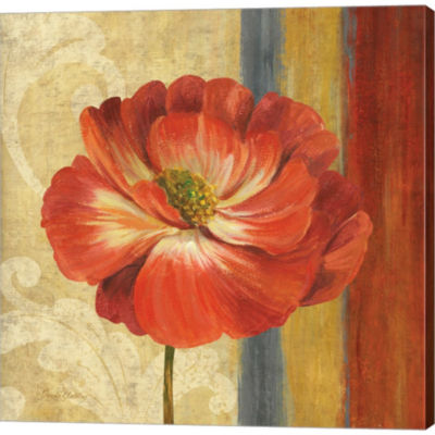 Metaverse Art Poppy Tapestry Stripes II Gallery Wrapped Canvas Wall Art