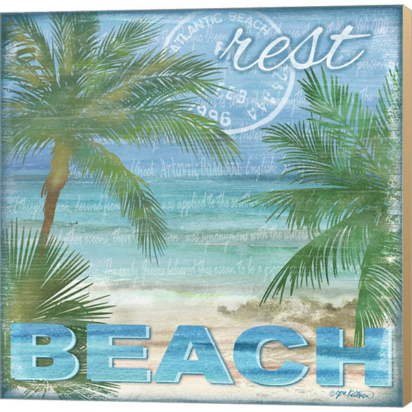 Beach Palm I Gallery Wrapped Canvas Wall Art On Deep Stretch Bars
