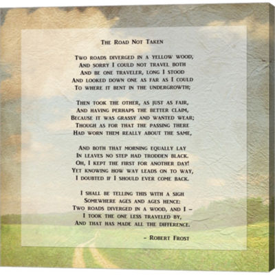 Metaverse Art Robert Frost Road Less Traveled PoemGallery Wrapped Canvas Wall Art