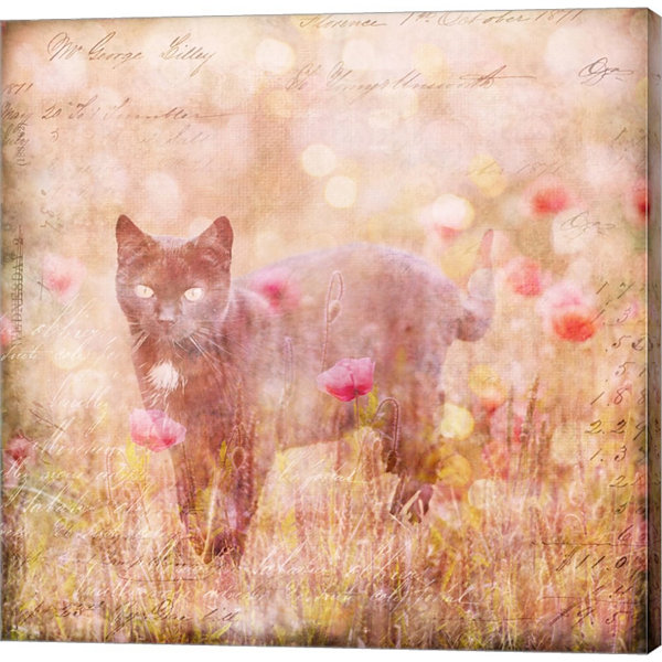 Metaverse Art Romantic Cat Gallery Wrapped CanvasWall Art