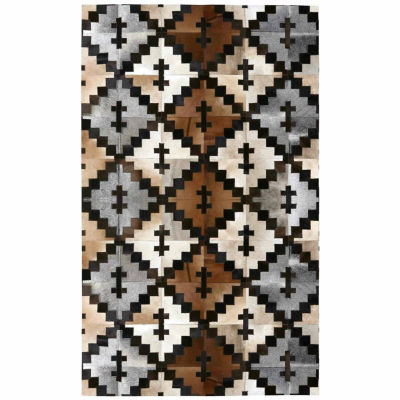 ST. CROIX TRADING Brown Leather Hair-On Hide Matador Rug