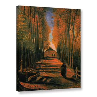 Brushstone Avenue of Poplars in Autumn Gallery Wrapped Canvas Wall Art