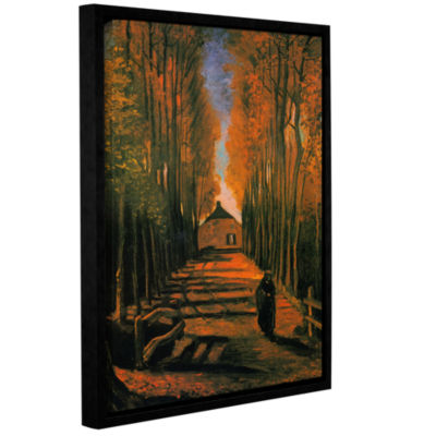 Brushstone Avenue of Poplars in Autumn Gallery Wrapped Floater-Framed Canvas Wall Art