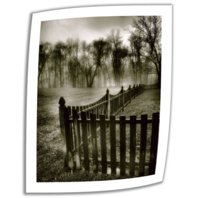 Brushstone Fence in the Fog Canvas Poster Wall Art