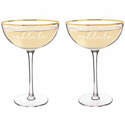Cathy's Concepts Ooh La La 8 oz. Gold Rim Coupe Flutes