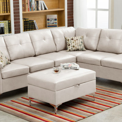 Macy Bonded Leather Sectional with Storage Ottoman