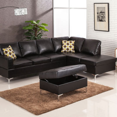 Maya Bonded Leather Sectional with Storage Ottoman