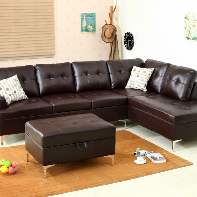Mira Bonded Leather  Sectional with Storage Ottoma