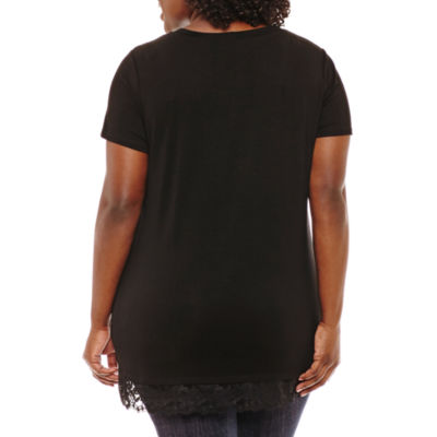 Cut And Paste Short Sleeve Scoop Neck T-Shirt - Womens Plus