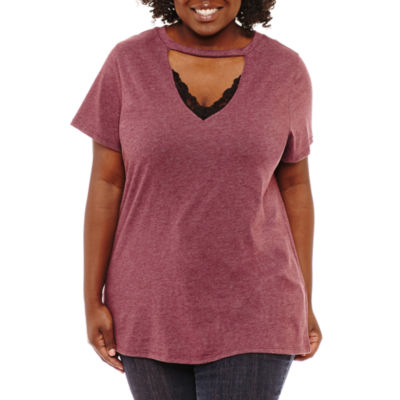 Cut And Paste Short Sleeve V Neck T-Shirt-Womens Plus