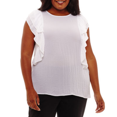 a.n.a Short Sleeve Round Neck Woven Blouse - Plus