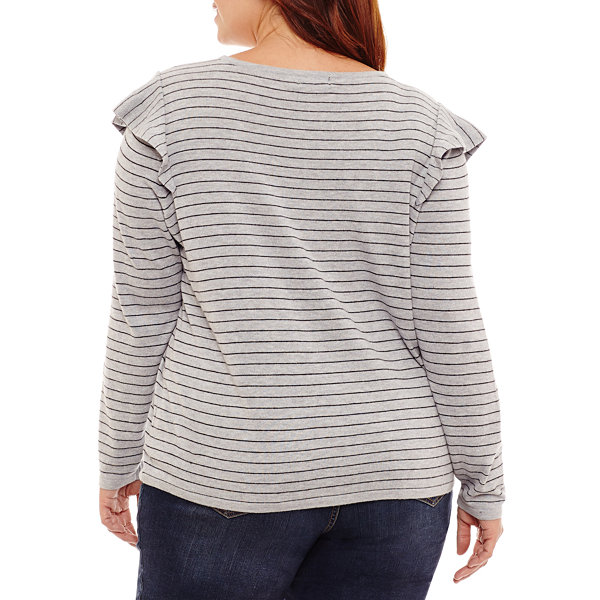 a.n.a Long Sleeve Ruffle Pullover Sweater-Plus