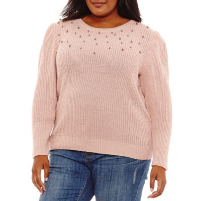 a.n.a Long Sleeve Embellished Pullover Sweater - Plus