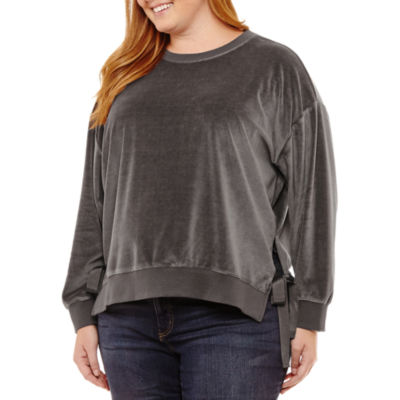 a.n.a Long Sleeve Velvet Sweatshirt - Plus