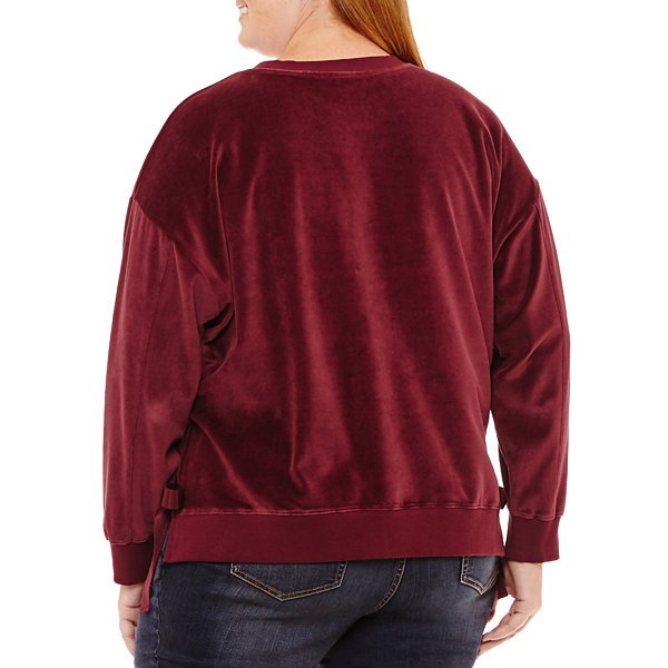 a.n.a Long Sleeve Velvet Sweatshirt-Plus