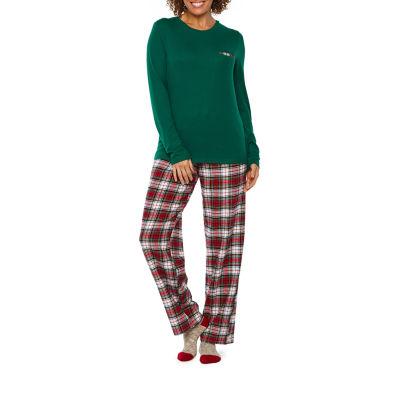 Liz Claiborne 3 Piece Pant Pajama Set With Socks-Tall
