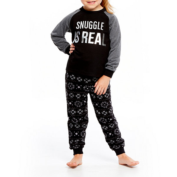 Holiday #Famjams Black and Gray Fairisle 2 Piece Pajama Set - Unisex Toddler