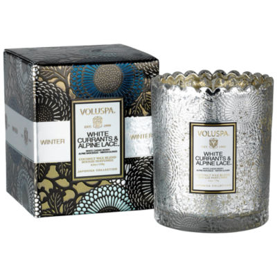 VOLUSPA White Currants Boxed Scalloped Candlepot