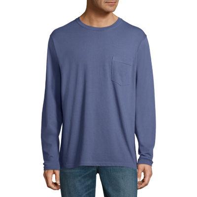 Stafford Long Sleeve Crew Neck Pocket T-Shirt - Big and Tall
