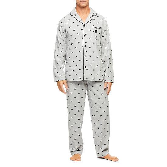 Haggar 2 Piece Cotton Flannel Tailored Pajama Set - Men's