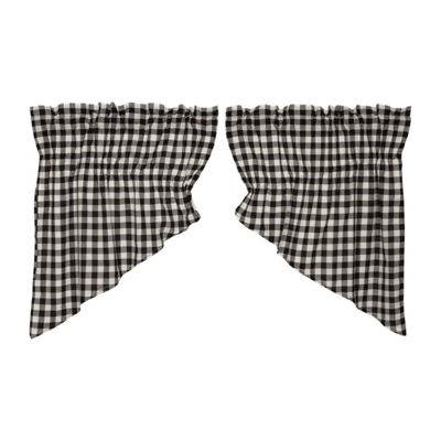 Farmhouse Window Buffalo Black Check Prairie SwagPair