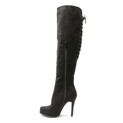 2 Lips Too Womens Lifted Over the Knee Boots Pull-on