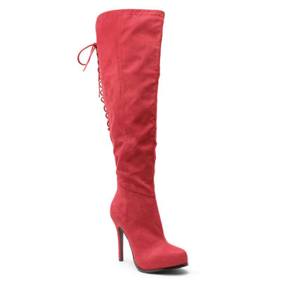2 Lips Too Womens Lifted Over the Knee Boots Stiletto Heel Zip Wide Width