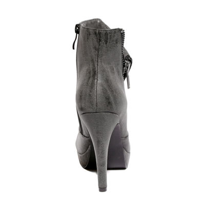 2 Lips Too Womens Snapped Bootie Spike Heel Zip