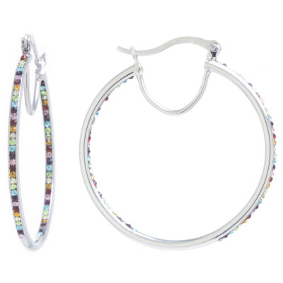 Sparkle Allure Crystal Earrings Multi Color Pure Silver Over Brass 44mm Round Hoop Earrings