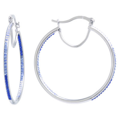 Sparkle Allure Crystal Earrings Blue Pure Silver Over Brass 44mm Round Hoop Earrings