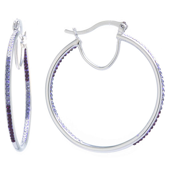 Sparkle Allure Crystal Earrings Purple Pure Silver Over Brass 44mm Round Hoop Earrings