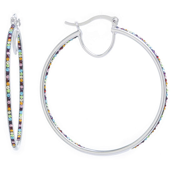 Sparkle Allure Crystal Earrings Multi Color Pure Silver Over Brass 55mm Round Hoop Earrings