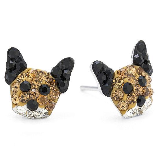 Silver Treasures Lab Created Brown Sterling Silver 9.5mm Stud Earrings