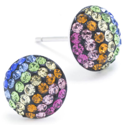 Silver Treasures Lab Created Multi Color Sterling Silver 9mm Round Stud Earrings