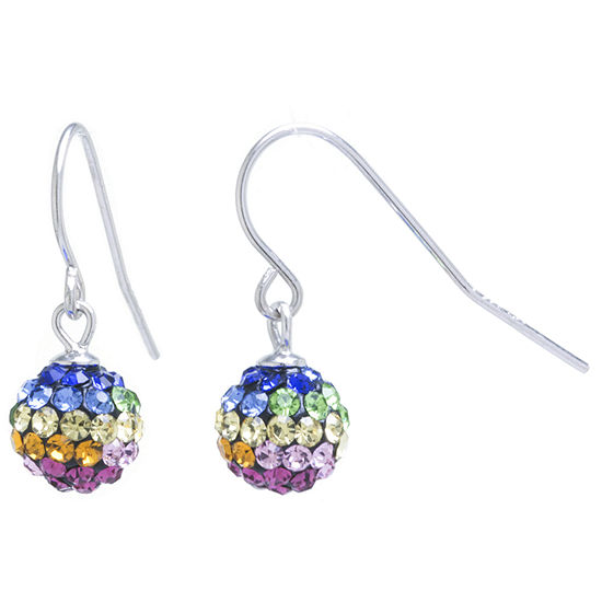 Silver Treasures Lab Created Multi Color Sterling Silver Round Drop Earrings