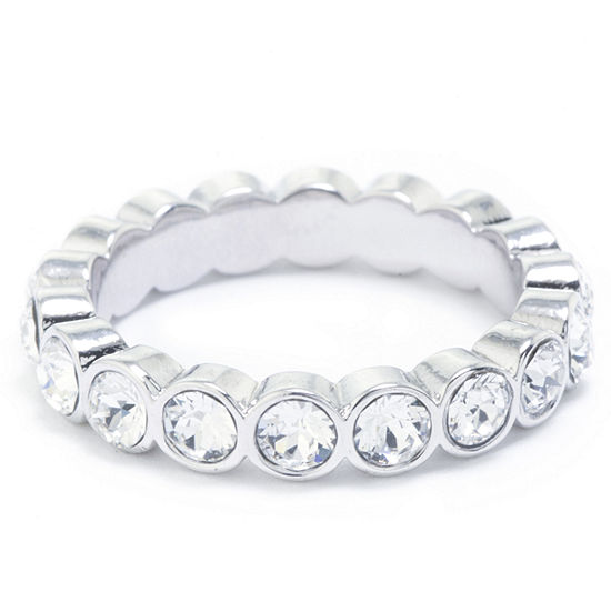 Sparkle Allure Womens Crystal Pure Silver Over Brass Eternity Band
